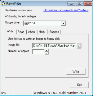 Plop Boot Manager and RawWrite for Windows
