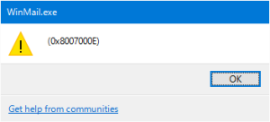 WinMail 0x8007000E